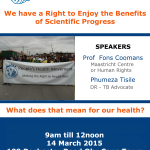"PHM Public Meeting. ""We have a Right to Enjoy the Benefits of Scientific Progress. What does that mean for our health?"""