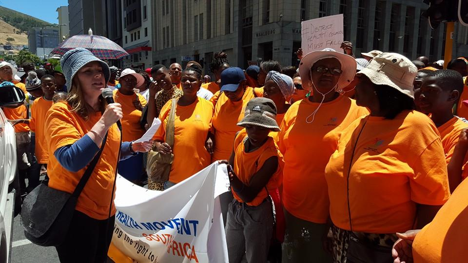 Kathryn Stinson PHM-SA Chair, addressing marchers during the March against the Western Cape Health Facilities Board and Committees Bill, 2015